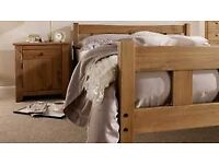 King size waxed pine bed frame with thick ortho mattress. Free delivery