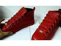 Red balenciaga high tops