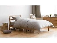 New Muji bentwood ash double bed and mattress