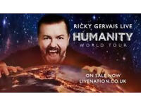 1 x Seated Ricky Gervais ticket Plymouth Pavilions Tuesday 25th April