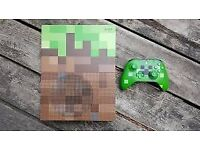 LIMITED EDITION MINECRAFT XBOX ONE S COMES WITH 1 WIRLESS CONTROLLER AND ALL CABLES - UNBOXED