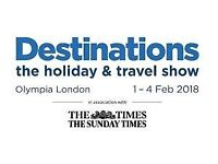 Destinations: The Holiday & Travel Show London - two tickets