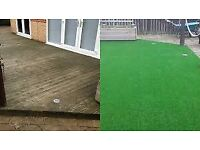 Artificial grass for decking, half price now £6 sq m