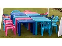 Pink and Blue Kids Plastic Tables and Chairs