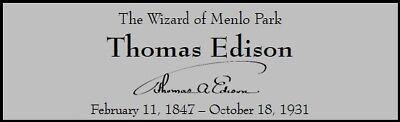 Thomas Edison Custom Laser Engraved 2 x 6 inch Plaque FREE SHIP