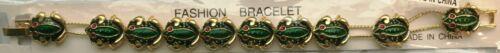 FROGS Slide Charm Bracelet new vintage goldtone green frog with red eyes, toads