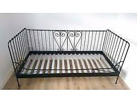 Ikea 'Meldal' Daybed, black metal. Attractive and versatile. Complete and in perfect condition.