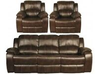 BROWN LEATHER RECLINING 3 SEATER AND 2 RECLINING CHAIRS