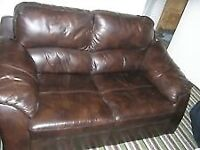 Solid brown quality 2 seater sofa settee
