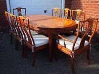 Rosewood Oval pedestal legs dining table with 6 chairs