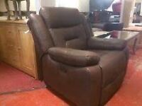 LEATHER RECLINER SOFA ARMCHAIR & FOOTSOOL PUFFA VERY LAZY COMFY CAN DELIVER MCR OR NEAR