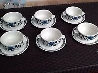 Vintage set of 6 collectable midwinter soup bowls and saucers. 1960s. Perfect condition