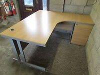 Lee & Plumpton L-Shape Desk, Light Oak Office Corner Desks, Crescent Desks & 3 Drawer Pedestal