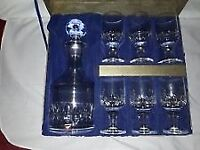 orrefors decanter set crystal signed boxed with glasses