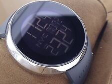 Gucci Men's Black Pvd stainless steel, rubber strap watch.