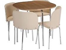 Hygena Amparo Compact Table and 4 Chairs Wood and Cream
