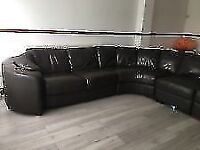 LARGE CHOCOLATE BROWN LEATHER CORNER SOFA WITH POUFFE-WAS £3.5K -MUST GO TODAY-CHEAP DELIVERY - £325