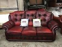 cheaasterfield knites bridge 3 seater and two matching arm chairs (CUD DELIVER)