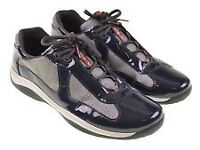 Prada Blue Patent Leather America Cup Mesh Trainers. Size 9