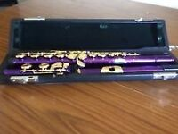 Concert C Purple and Gold plated flute.