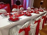 BEAUTIFUL CHAIR COVER, TABLECLOTH & BACKDROP RENTAL