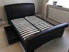 Bensons Dark Brown Faux Leather Double Bed - Mattress Optional (Excellent Condition)