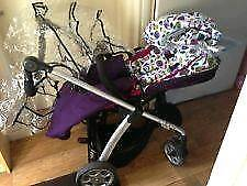 MAMAS and PAPAS sola plub petal with carry cot and car seat clips £100