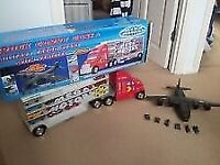 large truck WITH CARS ALSO ARMY PLANE WITH MINI VEHICLES EXCELLENT CONDITION
