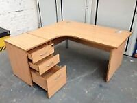 Lesus Beech Curved Office Working Station and 3 Draw Matching Lockable Pedestal