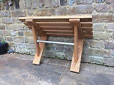 Habitat Olivia solid wooden beech slatted shelf with hanging pole