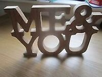 New 'Me & You' Wooden Sign 3D Valentines / Wedding