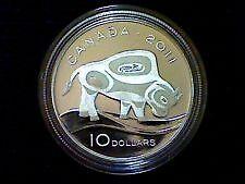 """Piece de monnaie 2011 RCM 10$ en argent fin """"The Wood Bison""""."""