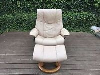 Ekornes Stressless cream leather reclining chair & footstool