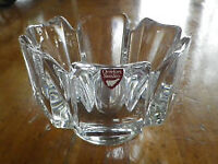 Orrefors Crystal Corona Bowl by Lars Hellsten with Label &Signed
