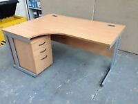 Left Hand Curved Beech Office Desk & 3 Draw Matching Pedestal - FREE LOCAL DELIVERY