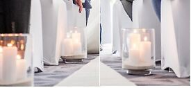 8 x cylinder hurricane glass vases (wedding)