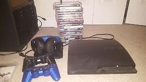 PS3 - TWO CONTROLLERS & HEADSET & GAMES