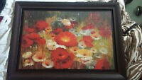 Beautiful Large Floral Wall Painting in Glass Frame-160 OBO