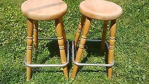 Two Solid Wood Stools with Chrome Accent