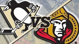 Sens vs Pens - two tickets, 2nd row and Free parking pass