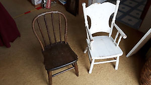 """NICE ANTIQUE SOLID WOOD CHILDREN'S CHILD'S CHAIRS,  """"HOOP BACK"""" Cambridge Kitchener Area image 1"""
