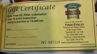 FORD -  FREE OIL CHANGE CERTIFICATES - CHEAP