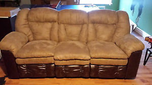 Brown and tan 3 seater end recliner couch