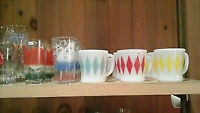 fire king mugs and vintage glass