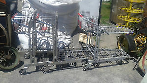 2 flat rack shopping carts great for nursury/recycle carts