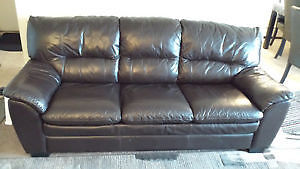 3 Seater Leather Couch (Brown Color)-/ MUST SALE ASAP