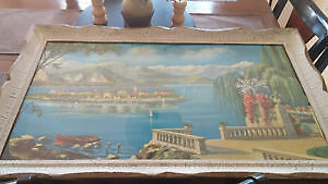 Mediterranean scenery art w glass & frame