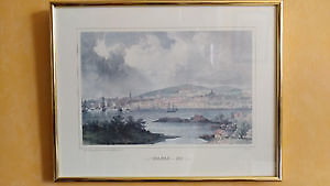 Vintage antique color ink print - Halifax 1832