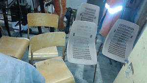 old/vintage/antique metal frame stacking chairs 3wood & 3plastic
