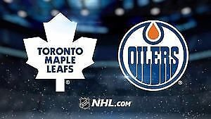 Maple Leafs v Oilers - 2 Tickets - Sec 309S - Row 19 -Center Ice
